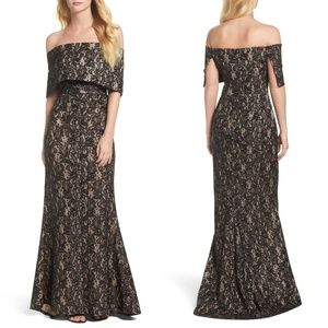 VINCE CAMUTO Sequin Off the Shoulder Evening Gown